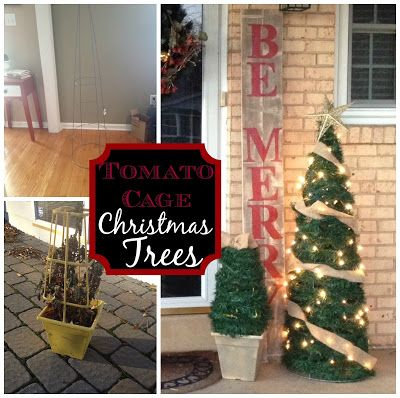 large diy outdoor christmas trees from tomato cages christmas