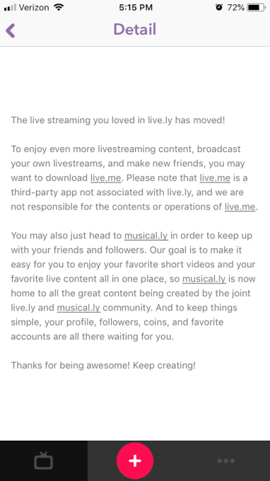 Musical ly's shutdown of Live ly was contractually obligated
