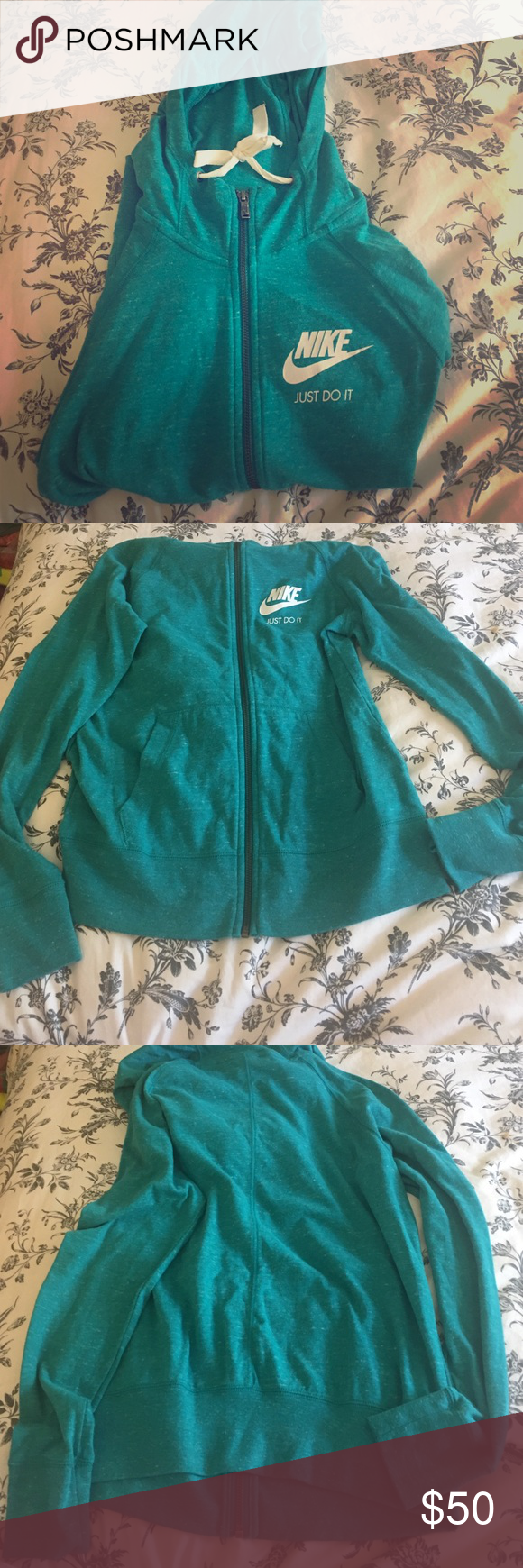 Nike gym vintage zip up hoodie Comfortable and cute! It has been tried on but not worn. Have any questions let me know.  Nike Sweaters