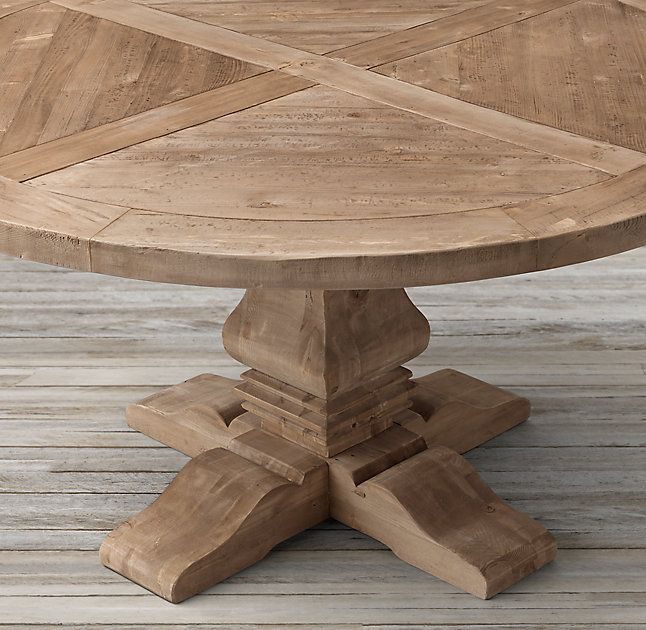 Rh S Salvaged Wood Trestle Round Dining Table Our Salvaged Wood