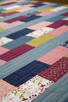 Simple Bricks free quilt pattern + Wonder Full fabric #jellyrollquilts