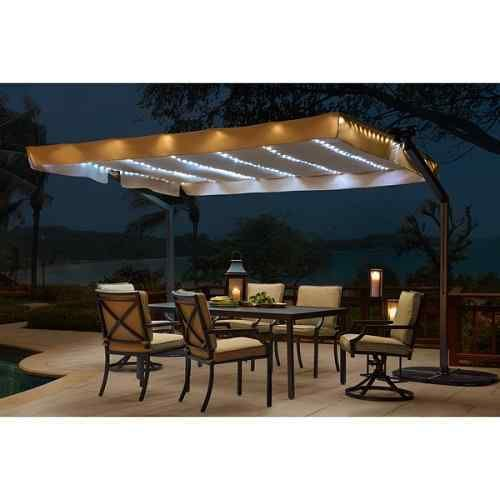 Beau 10 Beautiful Rectangular Patio Umbrella With Solar Lights