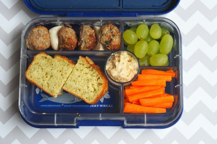 chicken and pesto meatballs bococinni balls pesto and cheddar loaf hummus carrot sticks and grapes