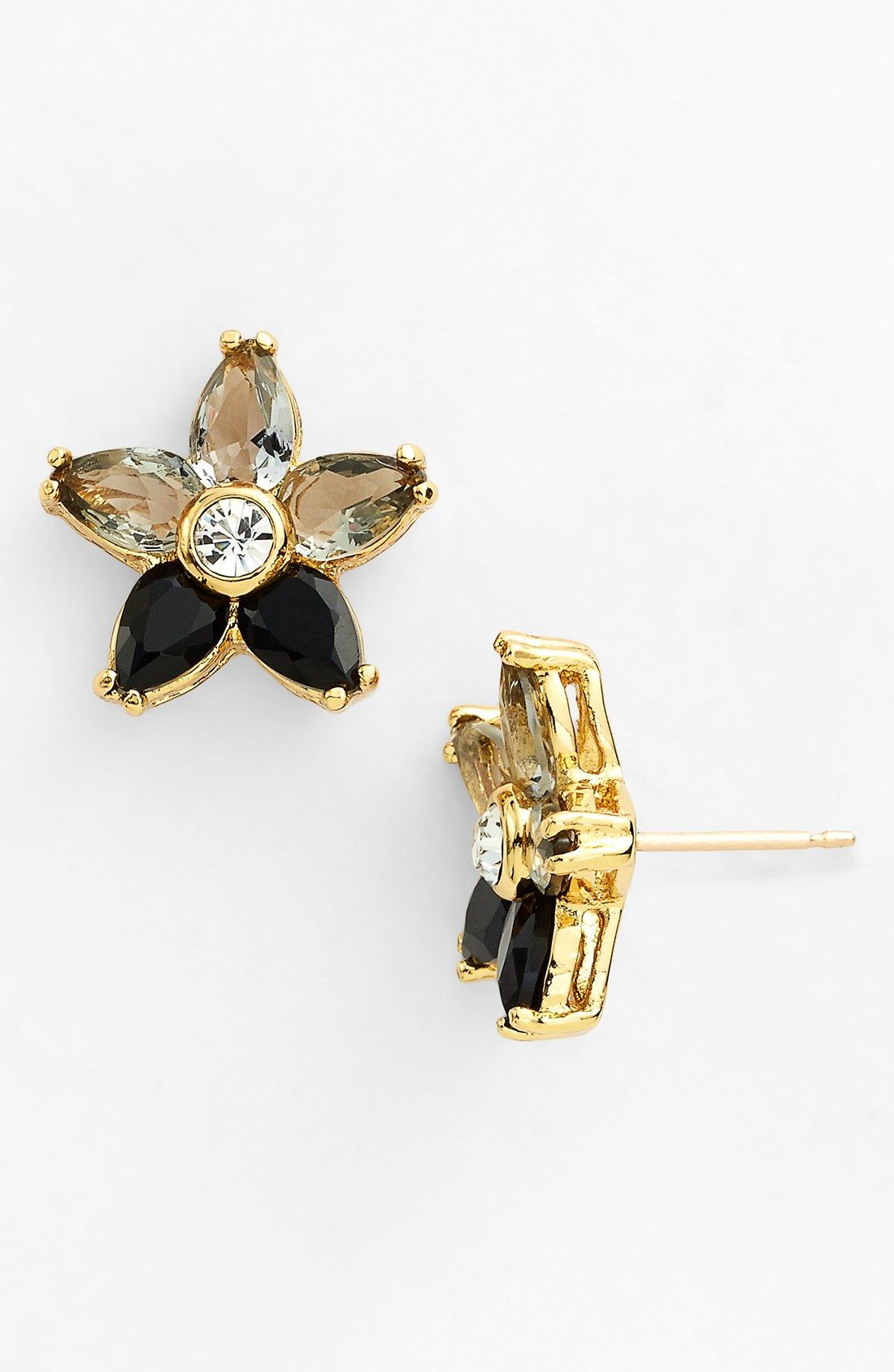 stud jewelry in lyst product earrings jet gallery black lea swarovski crystal normal