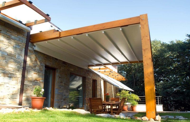 Holzdach Terrasse Pergola Aus Holz Mit Stoff-bespannung In 2019 | Pergola