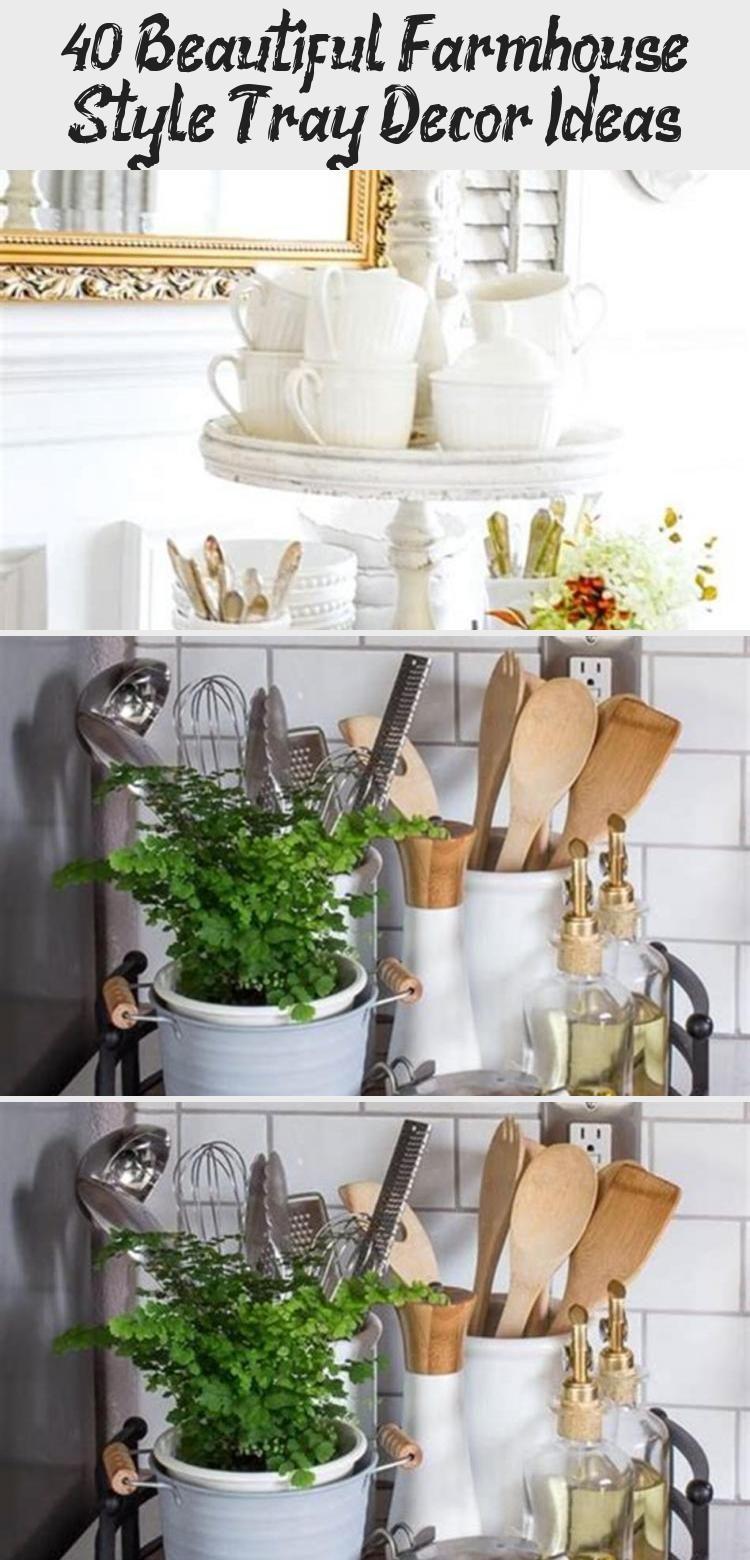 40 Beautiful Farmhouse Style Tray Decor Ideas 50 Decoratingcoffeetablesrustic Howdecoratingcoffee Kitchen Countertops Tray Decor Kitchen Counter Organization