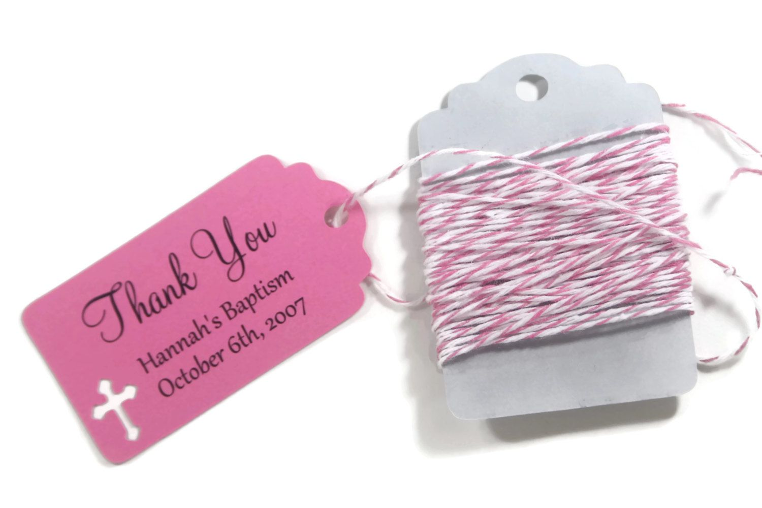 Small Pink Baptism Tags Set of 20 - Hot Pink Thank You Tags for ...