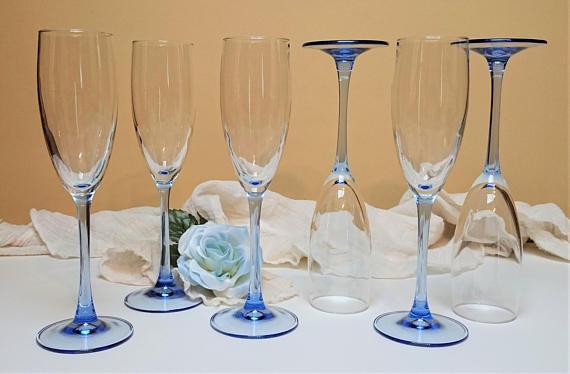 Cristal D Arques Durand Luminarc France Light Blue Stem Champagne Glasses Light Blue Champagne Flutes Set Of 6 Blue Wedding Stemware Luminarc Vintage Stemware Blue Stemware