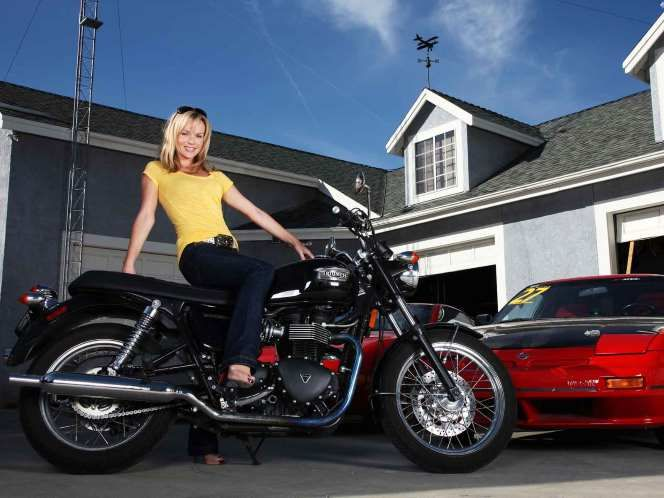 It's Britain's Got Talent judge Amanda Holden with one of the most iconic names in the motorcycle world, the Triumph Bonneville. Bikes carrying the Bonneville name have been built in three different production runs since 1959 with the latest versions holding true to the original look and feel - albeit with modern technology.
