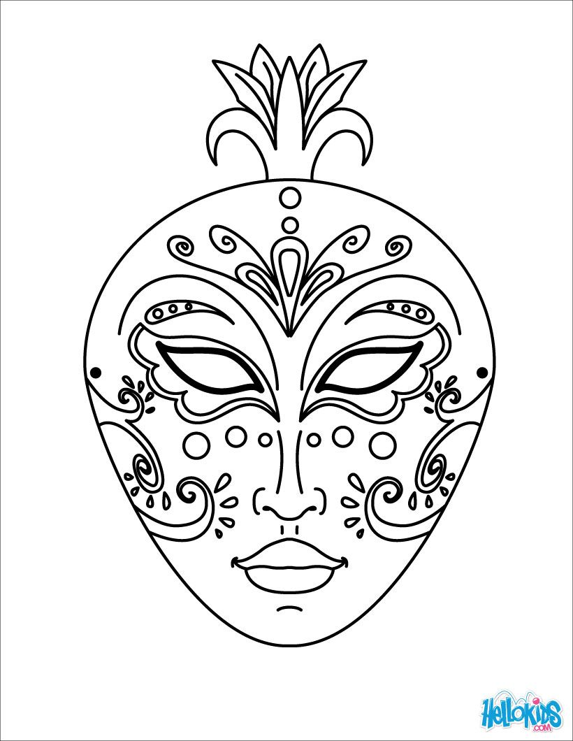 free coloring pages mardi gras : Venice Mask Coloring Page