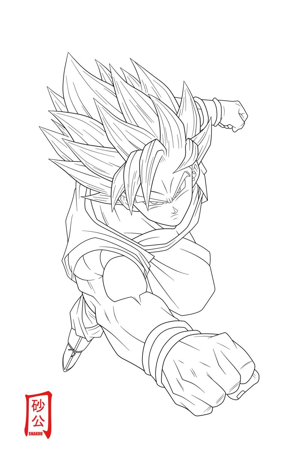 Goku Ssj2 Attack Lineart By Snakou On Deviantart Desenhos A