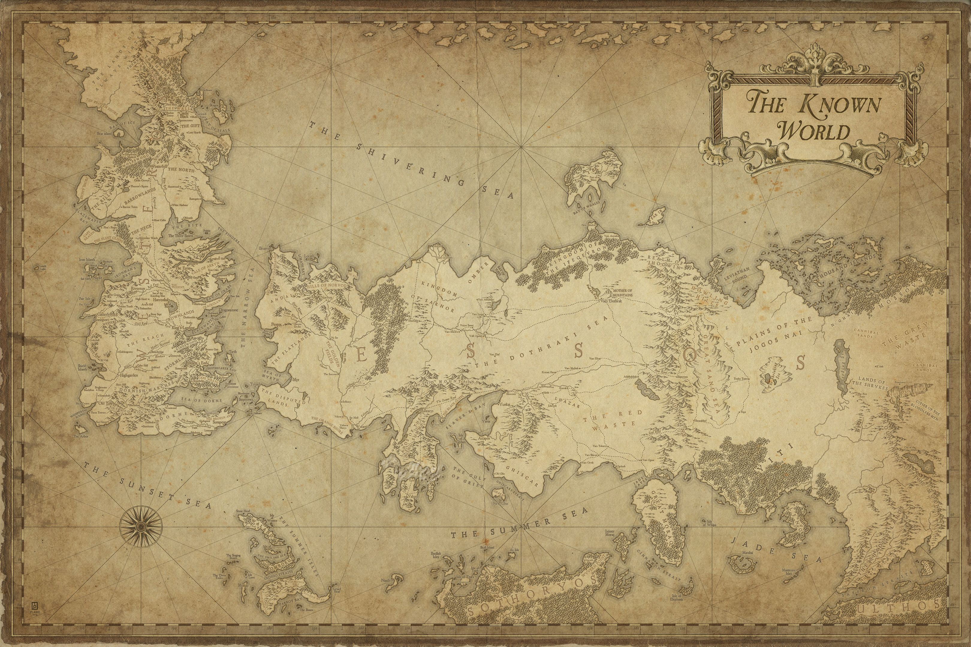 A Song of Ice and Fire - The world © M.PLASSE 2015 map cartography ...