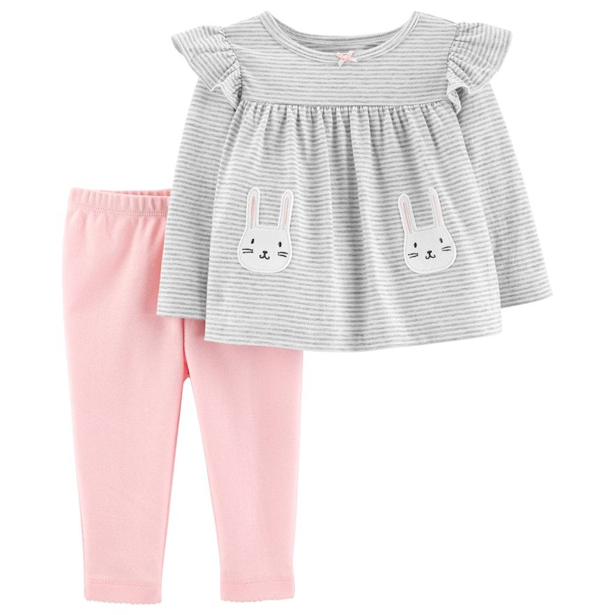 7b4fe90ebee93 Baby Girl Carter's Striped Bunny Top & Leggings Set, Size: Newborn ...