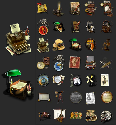 These steampunk icons will leave your Windows or Mac