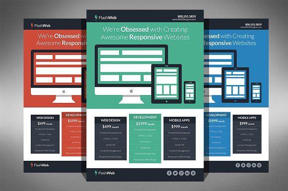 Flat Web Design Flyer Pinterest Flat Web Design Flat Web And - Web design flyer template