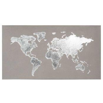 Graue Weltkarte Auf Leinwand L.110cm SILVER