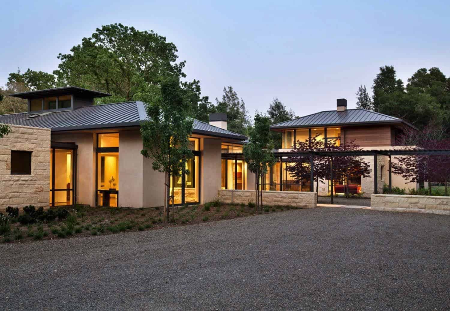 A Woodside Home Designed In Perfect Harmony With Nature Architecture House Exterior Facade House