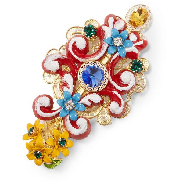 399212445 Dolce & Gabbana Gold-plated, Swarovski crystal and resin hairclip ($1,875)  ❤ liked on Polyvore featuring accessories, hair accessories and red