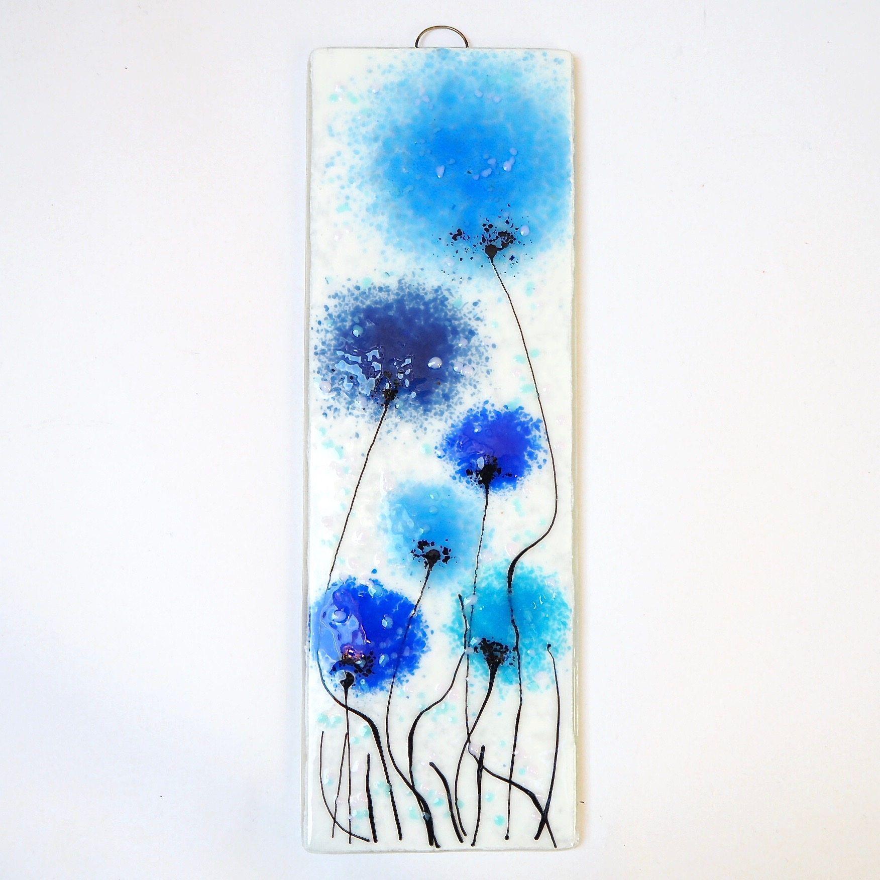 Blue fused glass wall art poppy art handmade glass gift blue