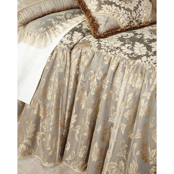 Dian Austin Couture Home Queen Elegance Skirted Coverlet (€985) ❤ liked on Polyvore featuring home, bed & bath, bedding, quilts, queen bed linens, skirted bedding, queen coverlet, damask bedding and damask coverlet