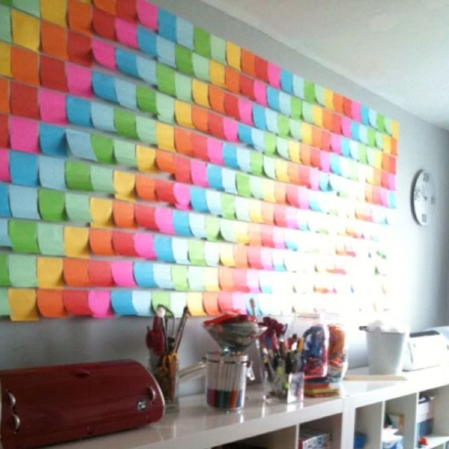 post it art projects pinterest note crafty and inexpensive wall art. Black Bedroom Furniture Sets. Home Design Ideas