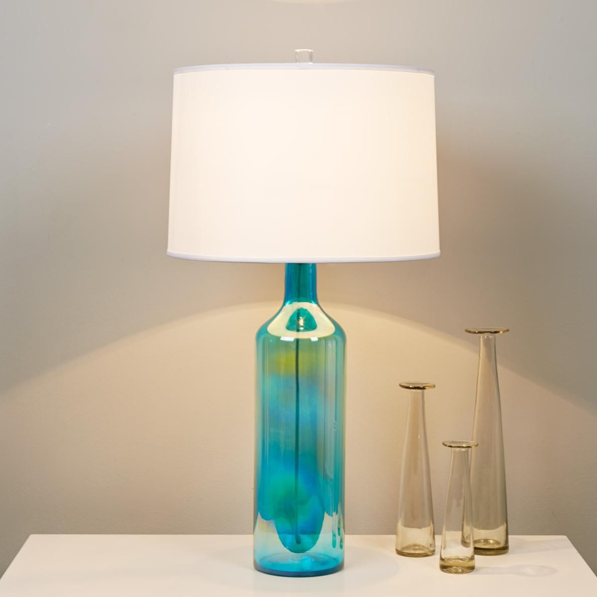 Clearly Colorful Bottle Glass Table Lamp Aqua Blue
