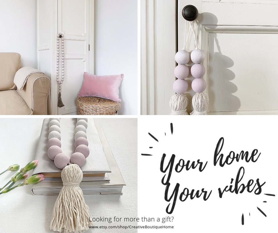 Blush Pink Decor With Beaded Tassel Pastel Wooden Bead Garland With Tassel For Scandi Boho Decor Wood Beads Garland For Coffee Table Decor