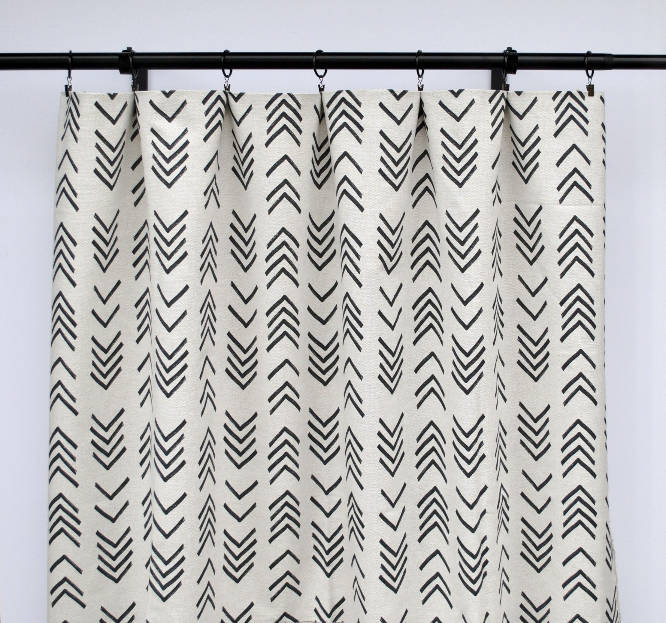 Boho Mud Cloth Curtain Panels Black And White Curtain Panels Mud Cloth Curtains Home Decor Mid Century Curtain Azteca Arrow White Curtains Black Curtains Curtains