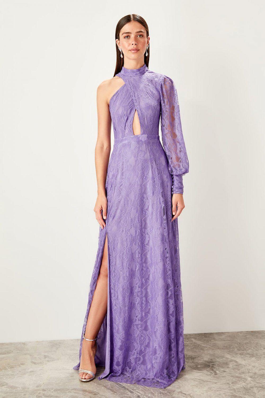 Trendyolmilla Lila Bel Dekolteli Dantel Uzun Abiye Elbise Elbisebul Maksi Elbiseler Elbise Resmi Elbise