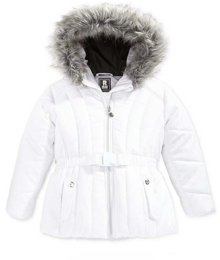 26a690724 S. Rothschild Foil-Dot Belted Puffer Jacket with Faux-Fur Trim ...