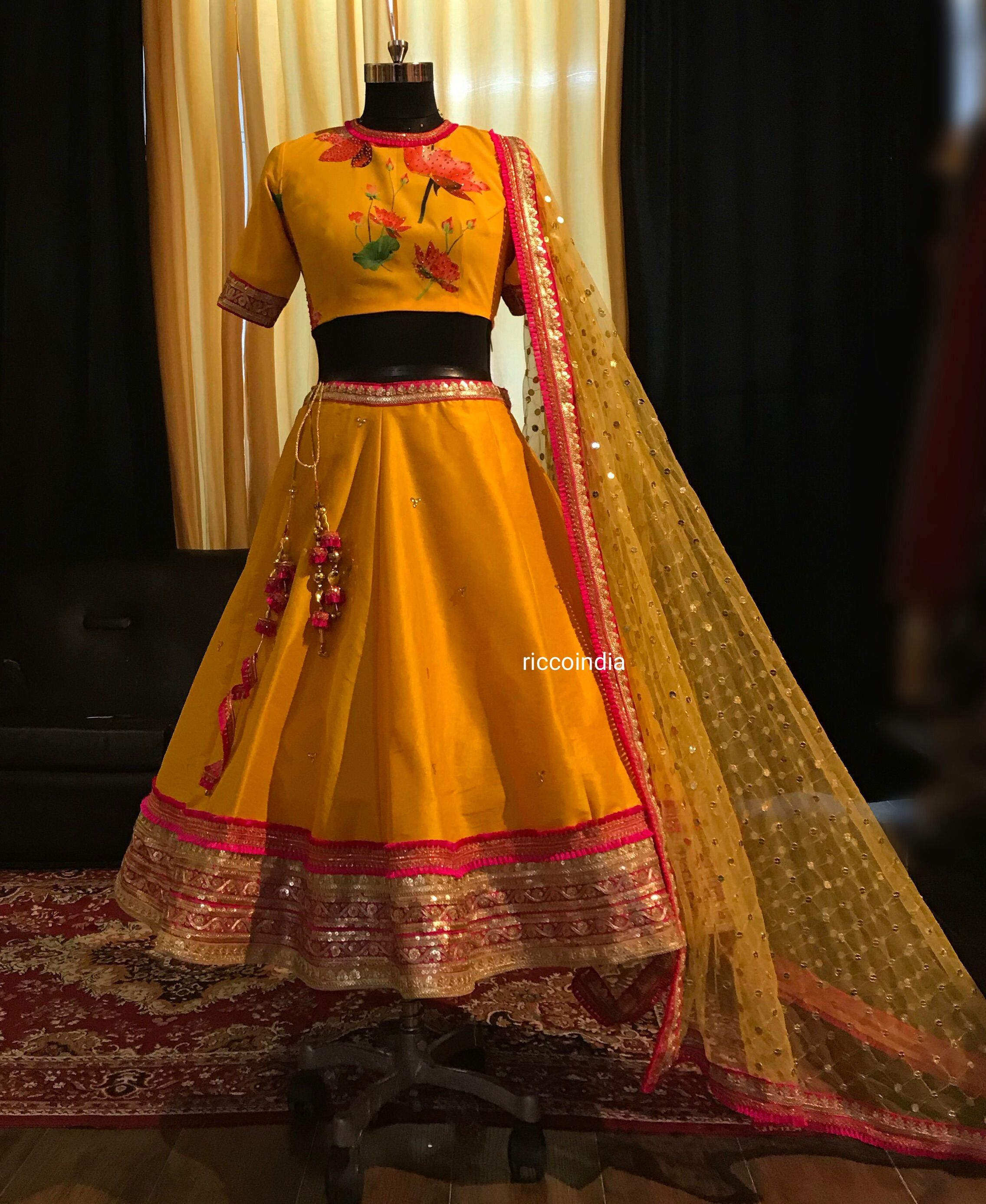 e2814a0fa81 Short Lehenga for mehendi with floral croptop and mustard and pink skirt  and dupatta.