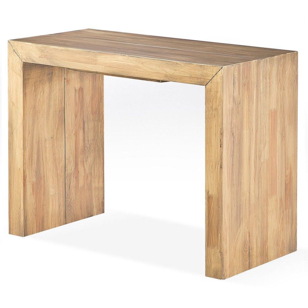 Console extensible en bois massif capuccino de la for Table extensible 16 personnes