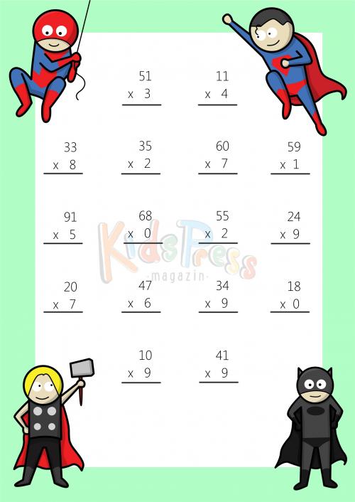 Math Worksheets 2 Digit By 1 Digit Multiplication 3 Math
