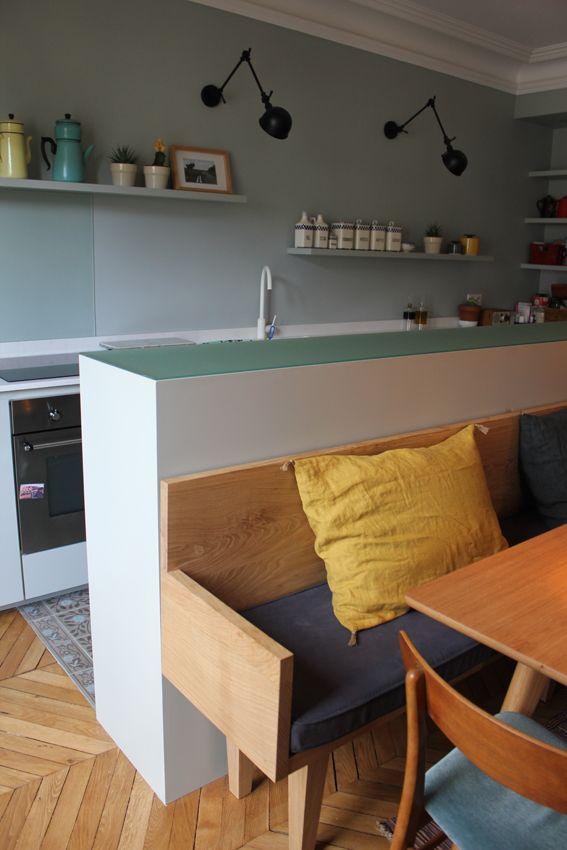 On aime cette idée qui change du plan bar classique de la cuisine - idee bar cuisine ouverte