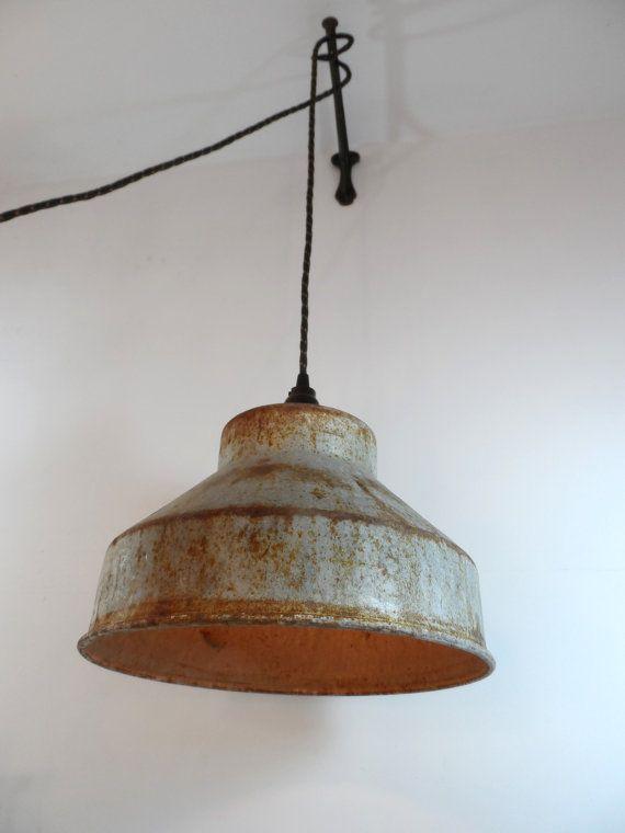 repurposed milk strainer funnel light industrial swag lamp