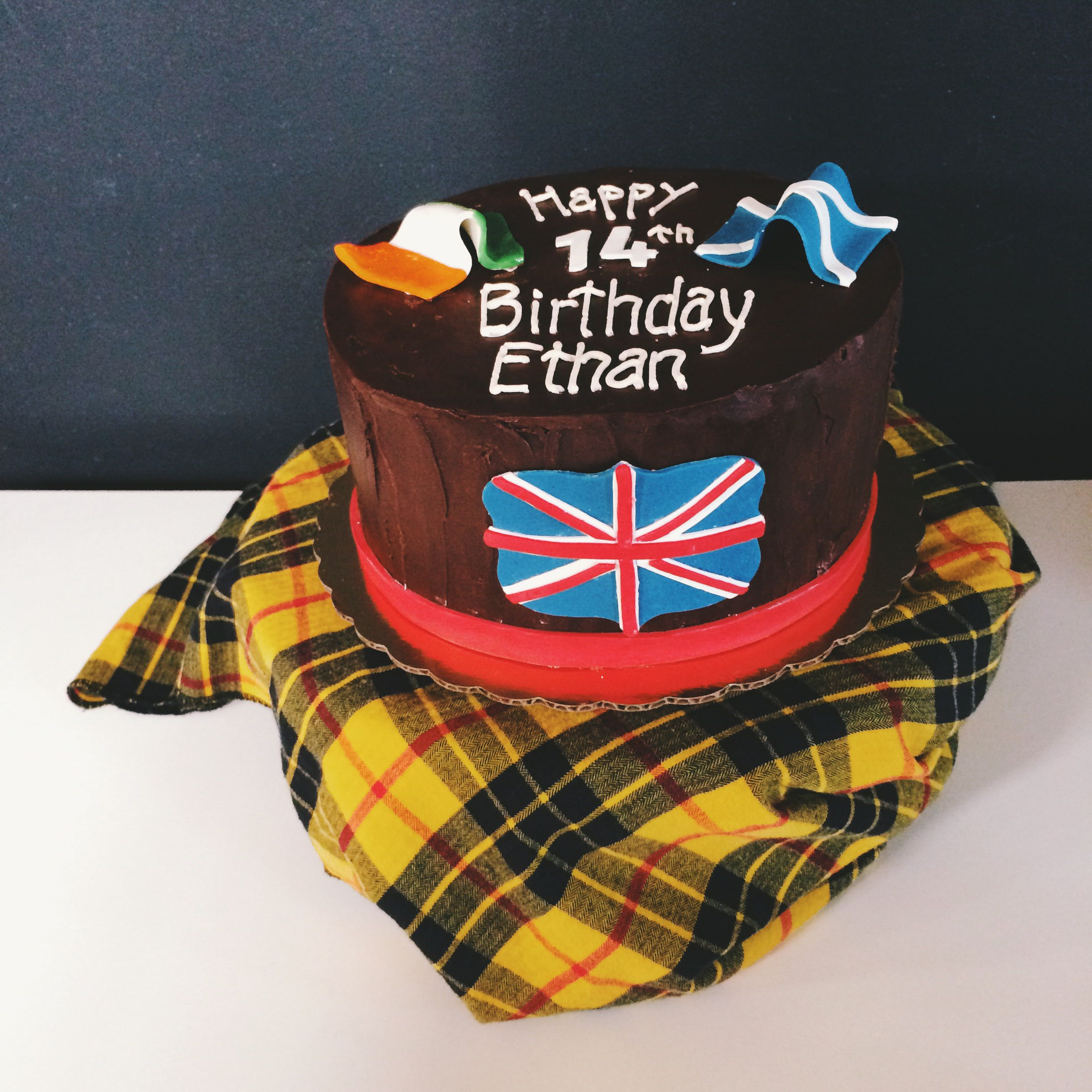 Birthday cake with flags of Ireland, Scotland and Great Britain