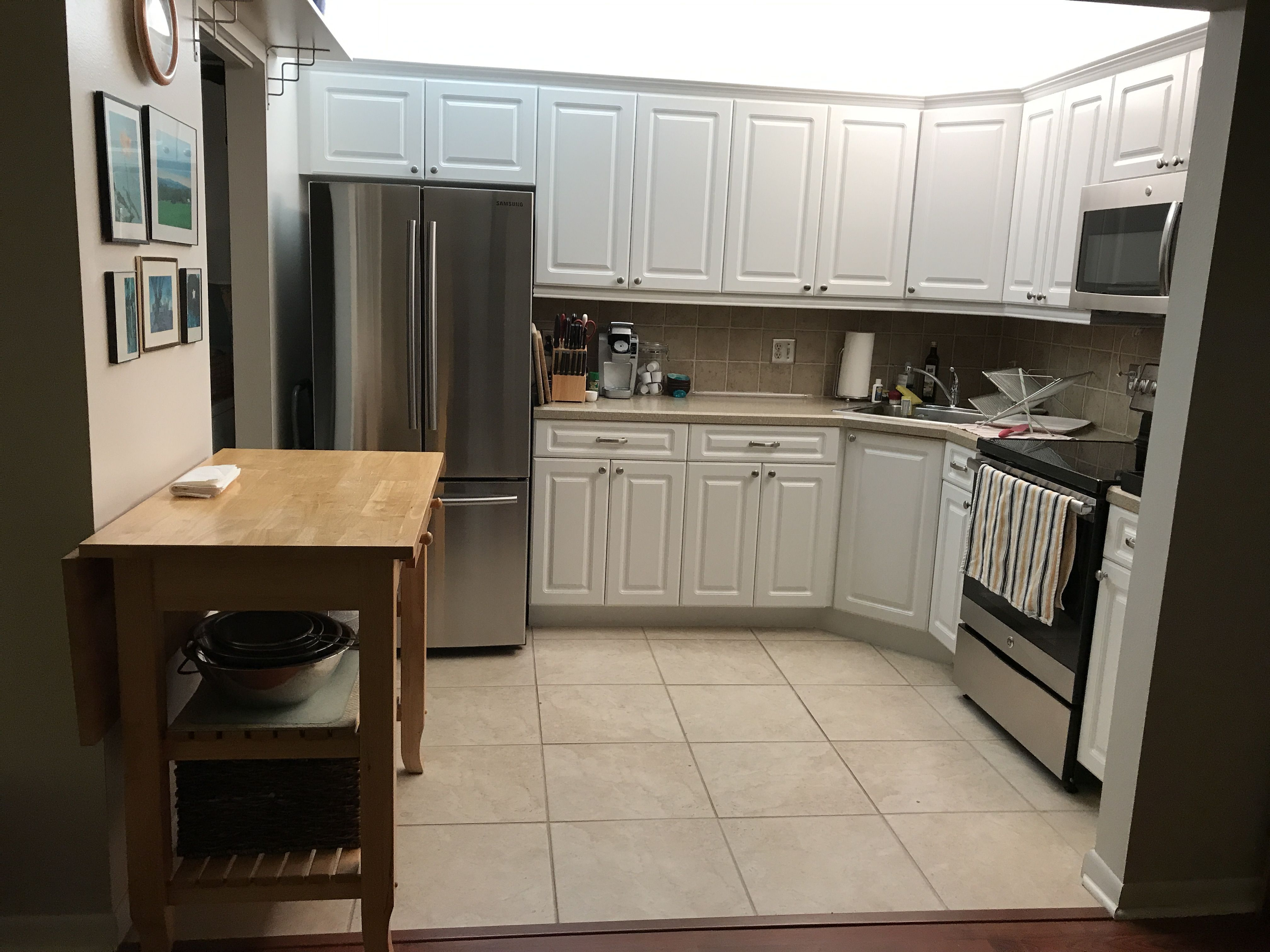 Painted thermofoil and got new appliances. Much
