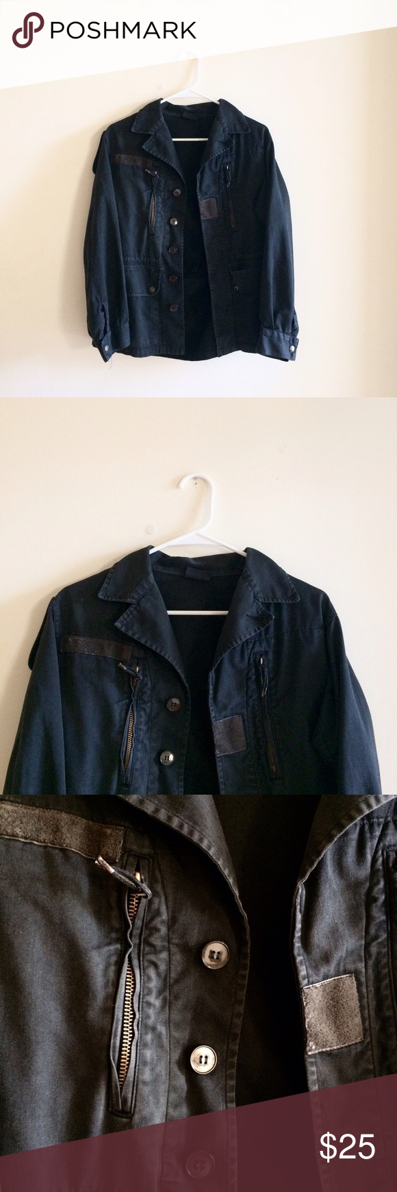 Black utility jacket Utility jacket from urban outfitters. Marked as large Urban Outfitters Jackets & Coats