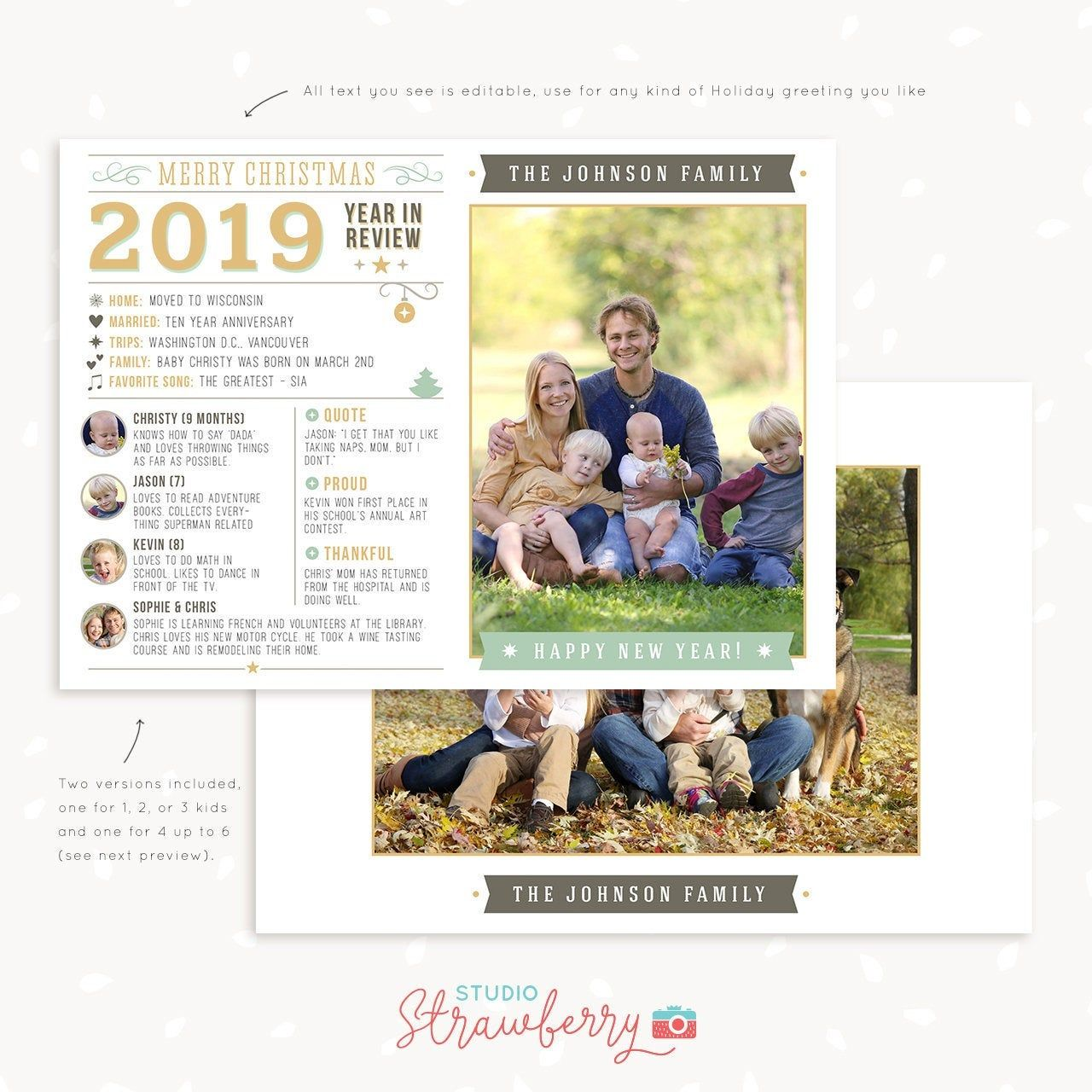 Year In Review Christmas Card Template 2019 Overview Year In Etsy Christmas Card Template Christmas Cards Holiday Cards