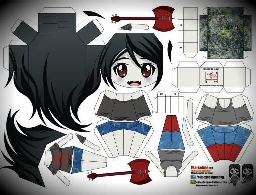 adventure time marceline paper doll in chibi style by joey vazquez mexican