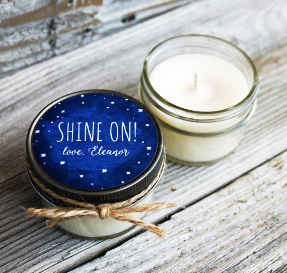 Set of 12 - 4 oz Wedding Favor Candle - Soy - Personalized Wedding Favors // Chalkboard Starry Night Wedding Favors #personalizedwedding
