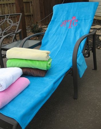 Monogrammed Lounge Chair Cover Beach Lounger Towel Marley Lilly - sillas de playa