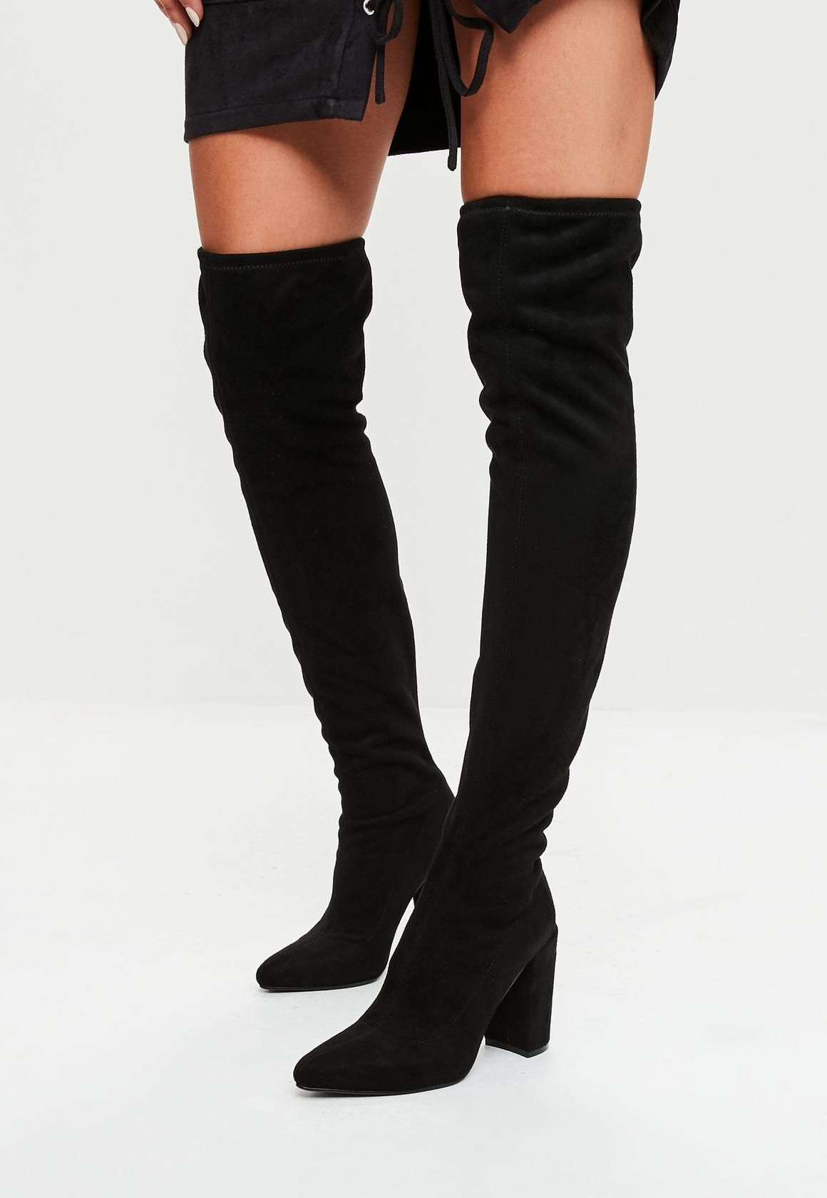 1ac6c60aca0 HOW YOU CAN KEEP YOUR OVER KNEE BOOTS CLASSY over knee boots black faux  suede over the knee boots lynbwny