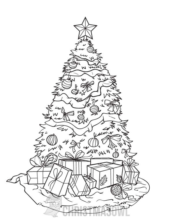 Free printable coloring page featuring a decorated