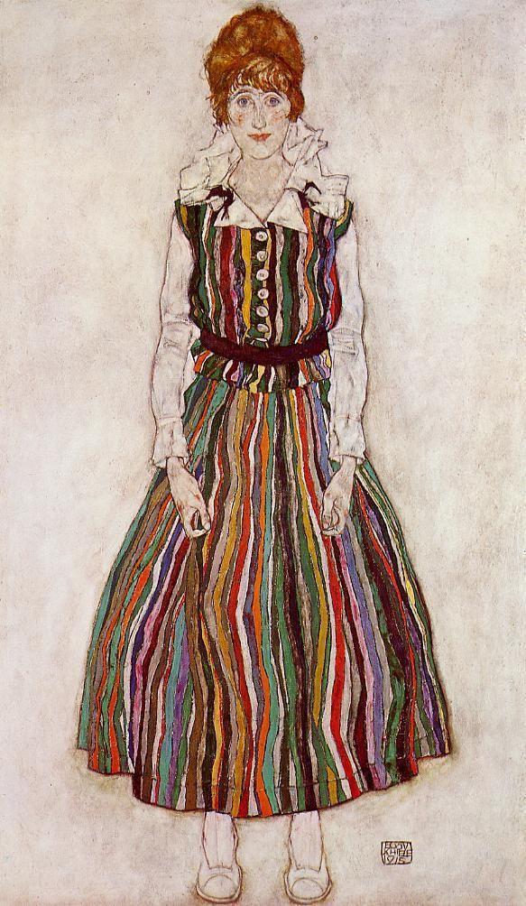 Egon Schiele, Portrait of Edith (the artist's wife), 1915