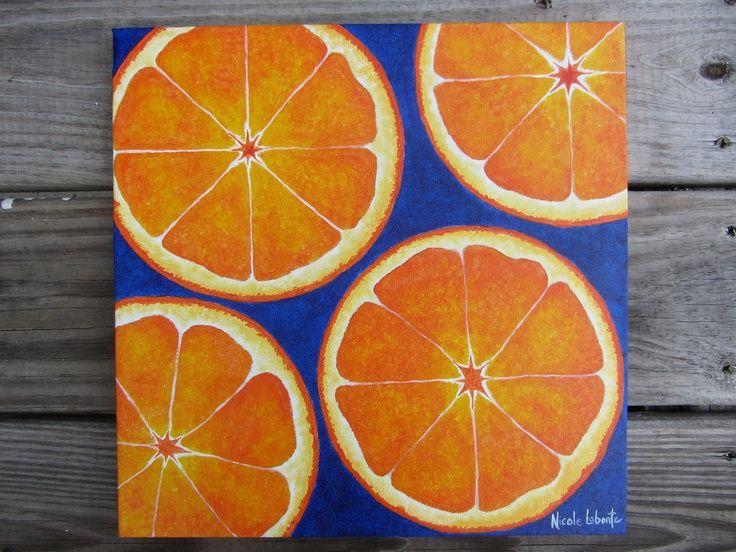 Kitchen Decor Fresh Bold Bright Orange Fruit Painting Cobalt Blue Artu2026