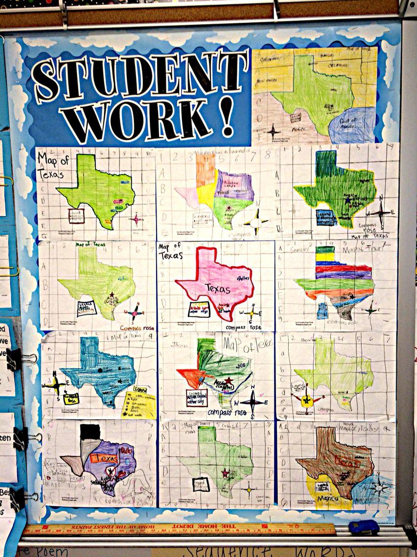 Labeled Grid Maps of Texas. Third Grade   Math curriculum map [ 1136 x 852 Pixel ]