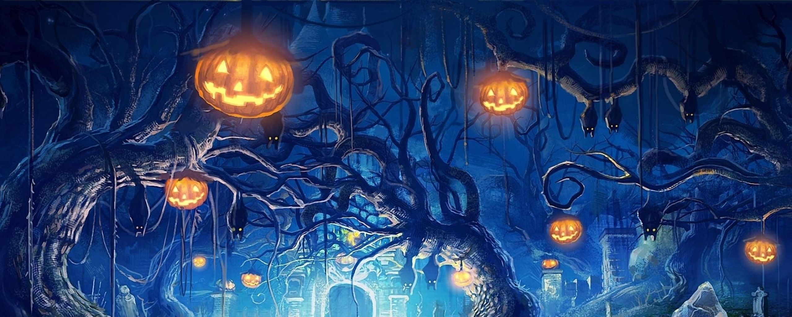 Download Wallpaper 2560x1024 Halloween Holiday Castle Gates Backdrops Backgrounds Studio Backdrops Backgrounds Halloween Wallpaper