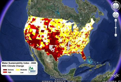 NRDC Tetra Tech Climate Change Water Map Areas Of Water - Water crisis map us