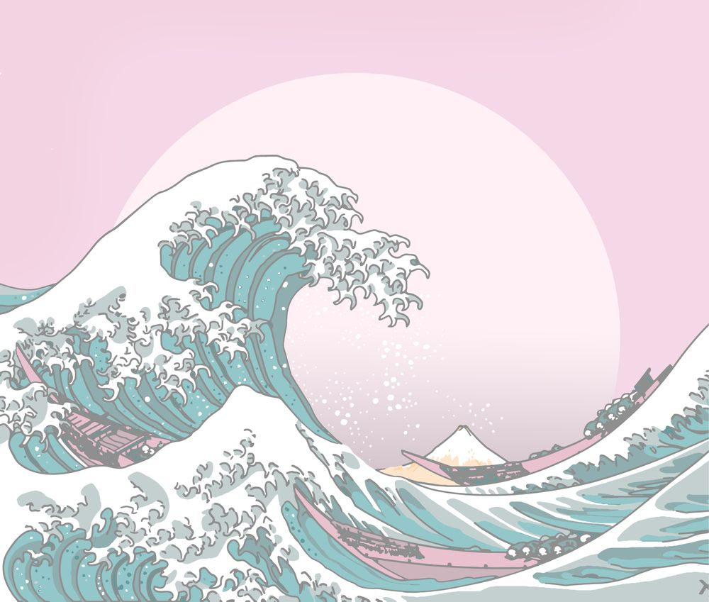 Great Wave Pastel Couch Throw Pillow by Histrionicole - Cover (16